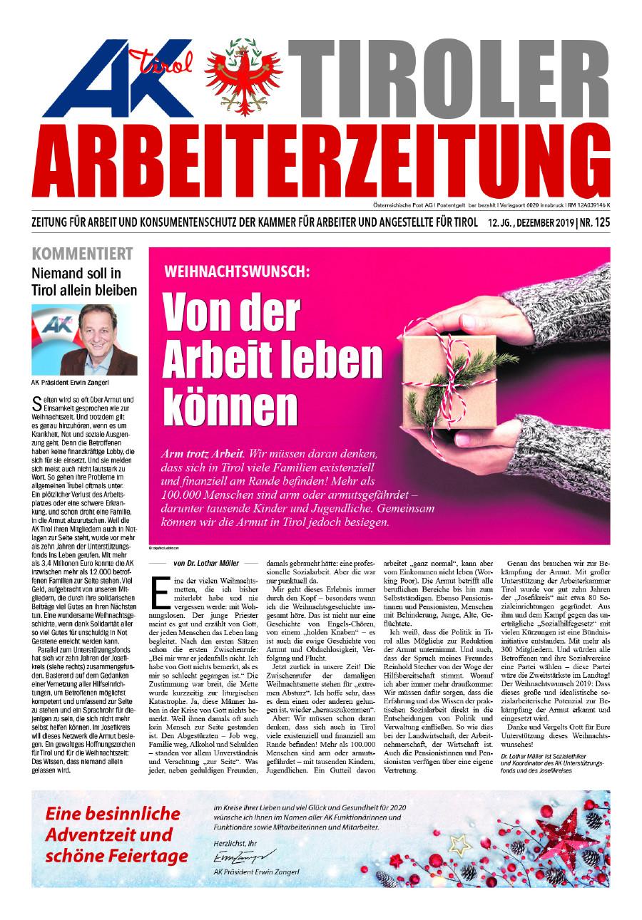 Titelseite AZ Ausgabe Dezember © AK Tirol