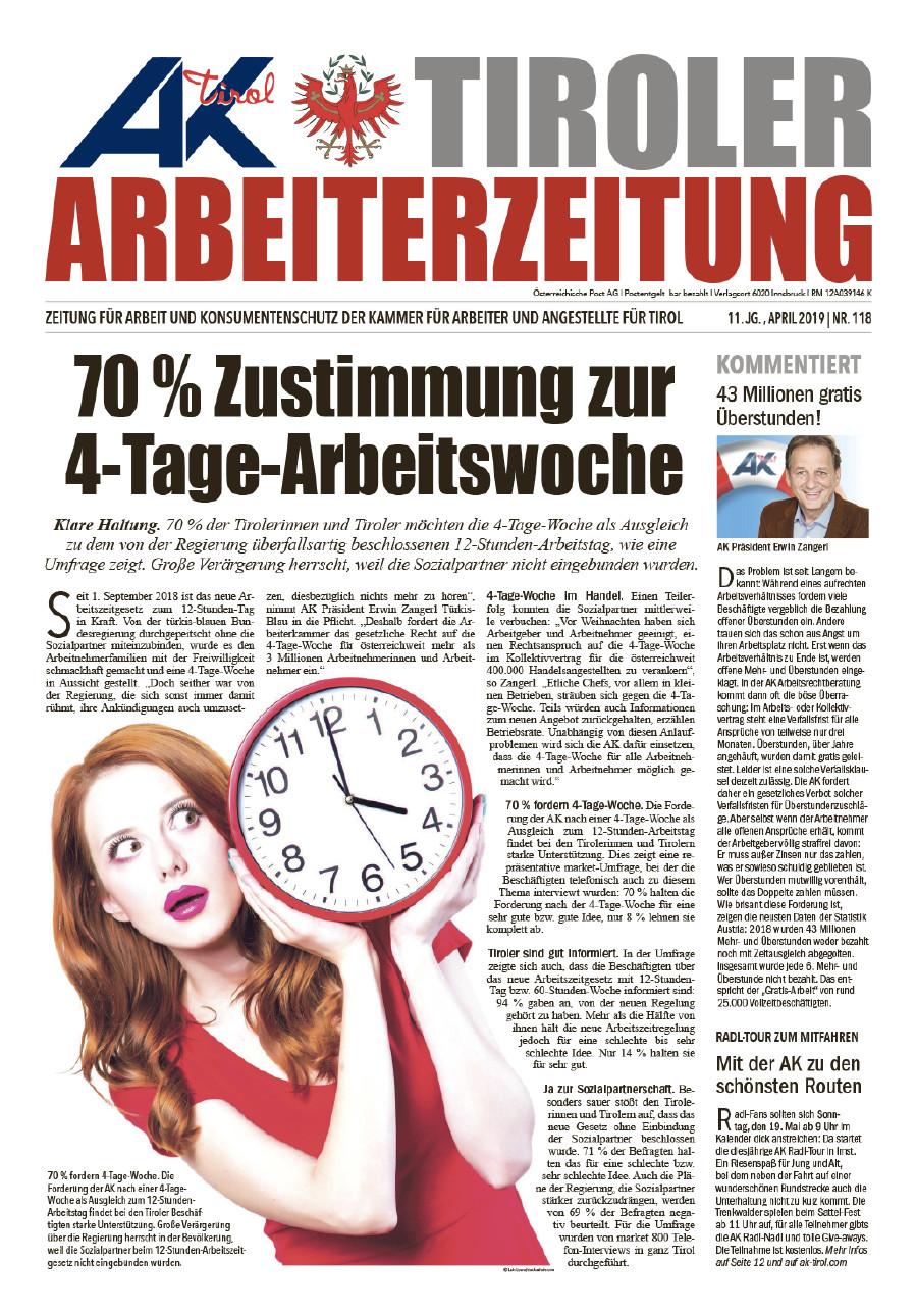 Titelseite AZ Ausgabe April 2019 © AK Tirol