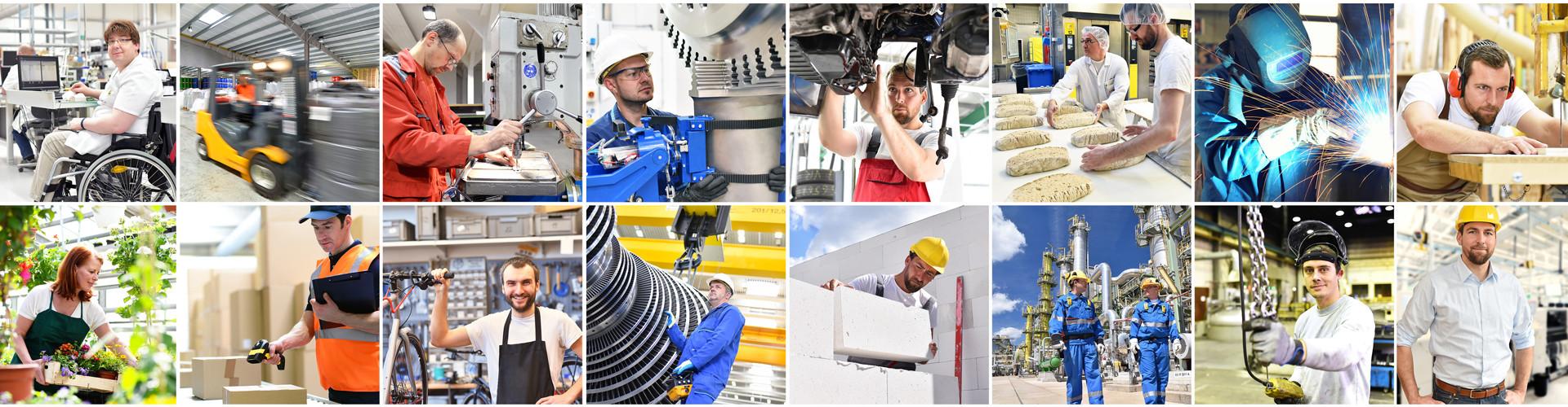 Eine Collage unterschiedlichster Arbeitsplätze im Industrie- Handwerks- und Dienstleistungssektor. © industrieblick, stock.adobe.com
