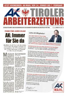Titelseite Arbeiterzeitung 1/2019 © AK Tirol