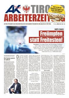 Tiroler Arbeiterzeitung Ausgabe Jänner 2021 © AK Tirol
