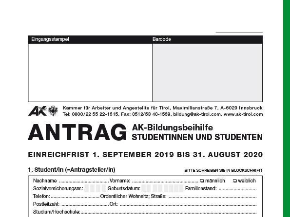 Antrag auf eine Bildungsbeihilfe für Studentinnen und Studenten © -, AK Tirol
