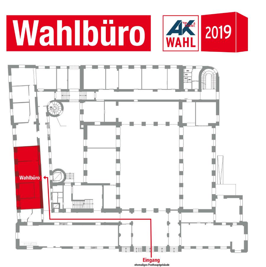Wegbeschreibung auf Lageplan zum AK Wahlbüro © AK Tirol