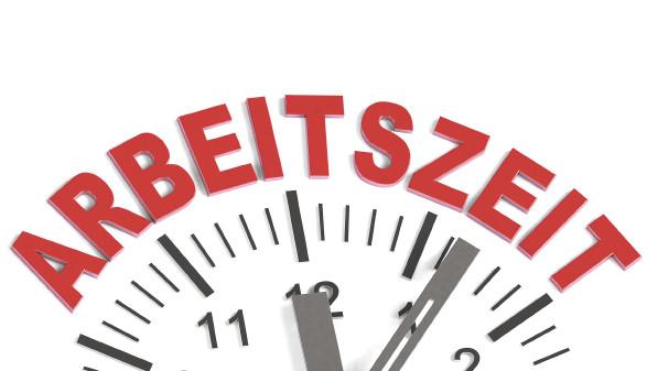 Schriftzug Arbeitszeit mit Uhr © Fotomanufaktur/stock.adobe.com