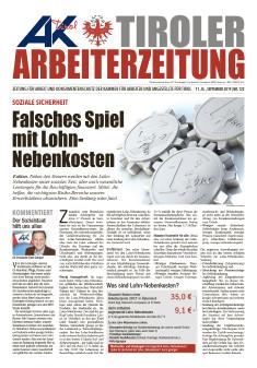 Tiroler Arbeiterzeitung September 2019 © AK Tirol