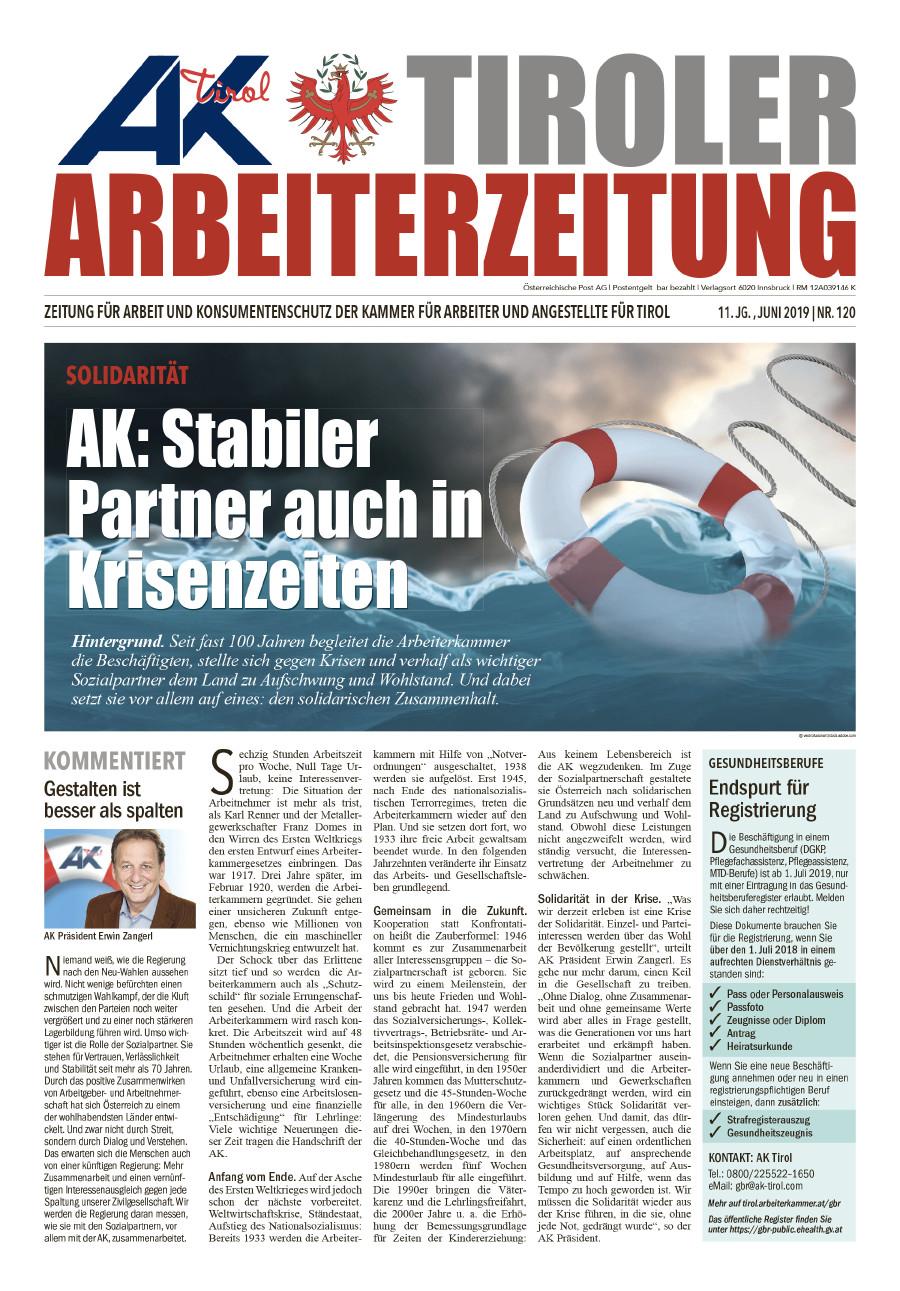 Titelseite Ausgabe Juni 2019 © AK Tirol
