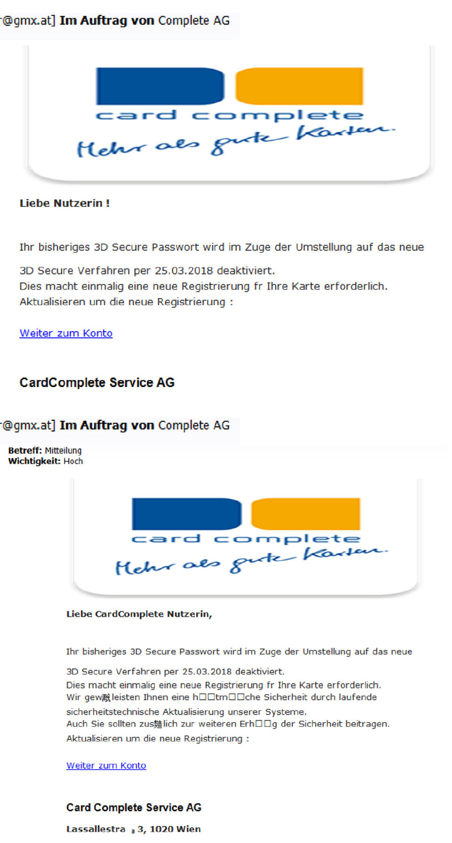 Muster für 3D-Secure Phishing Mail © -, AK Tirol