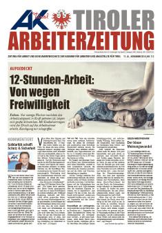 Titelseite der Tiroler Arbeiterzeitung November 2018 © -, AK Tirol