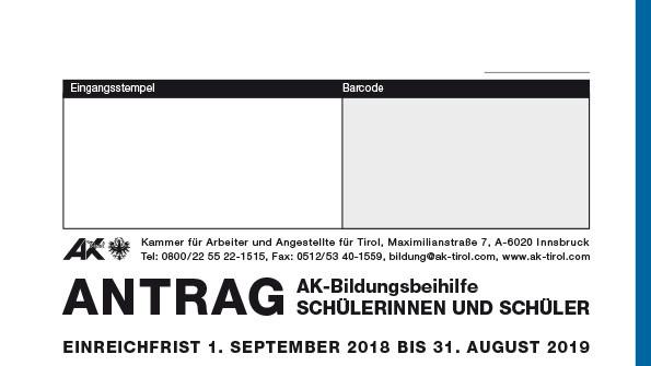 Antrag auf eine AK-Bildungsbeihilfe für Schüler © -, AK Tirol
