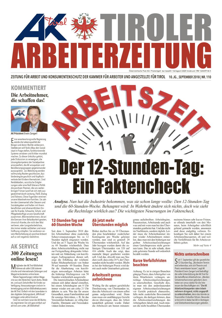 Titelseite AZ mit Arbeitszeit und Symbolbild Uhr © AK Tirol