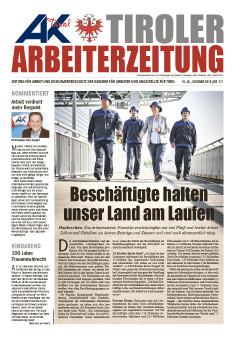 Titelseite mit 4 Arbeitern mit Helmen © -, AK Tirol