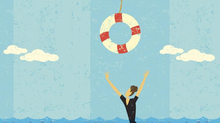 Frau greift nach Rettungsring © Retrostar/stock.adobe.com