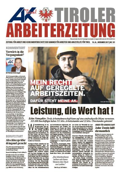 Tiroler Arbeiterzeitung November 2017 © -, AK Tirol