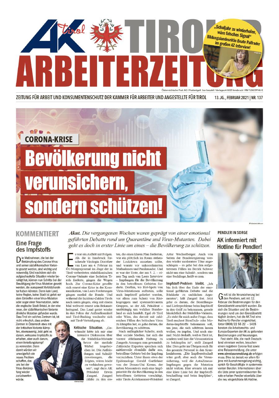 Tiroler Arbeiterzeitung Ausgabe Februar 2021 © AK Tirol